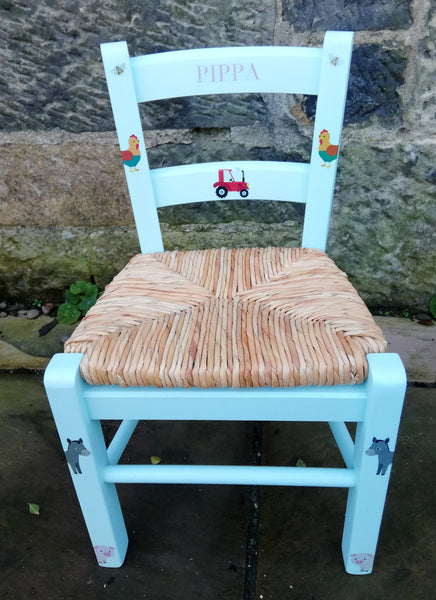 Custom Listing for Anna personalised children's rush seat chair with farm animal theme