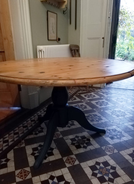 Custom Listing for Gavin and Ali refurbished round pine dining table