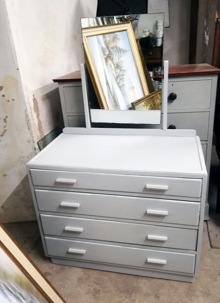 Reserved for Louis - Vintage Dressing Table painted in Fusion Mineral Paint Pebble