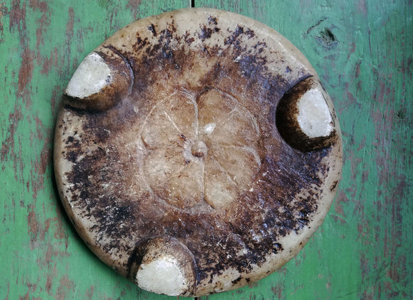 Antique marble stone chapati board. These make prefect trivets,pot stands or cheese boards