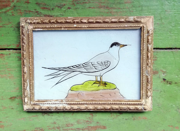 Vintage glass painting of a seagull