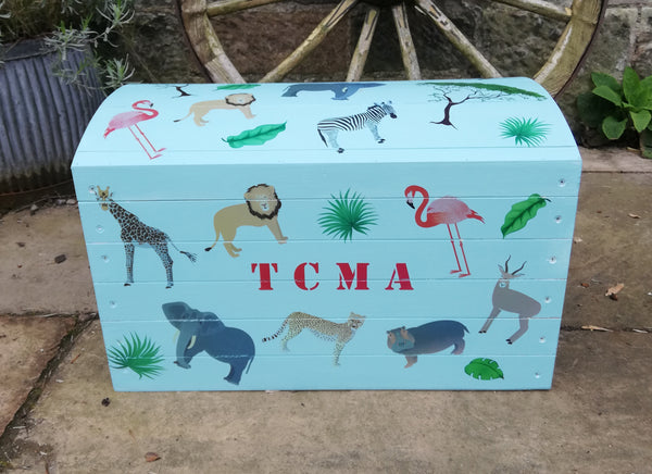 Custom Listing for Olivia personalised children's chest with jungle theme