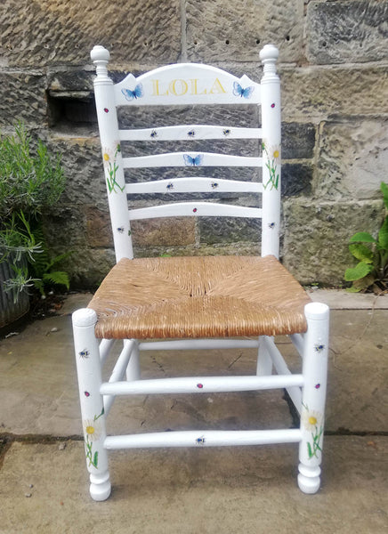 Upcycled rush seat personalised children's chair - bees and butterfly theme - made to order