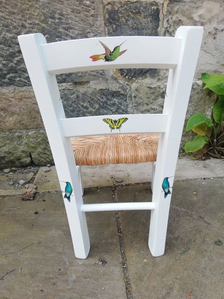 Upcycled rush seat personalised children's chair - hummingbird friend's theme  - made to order