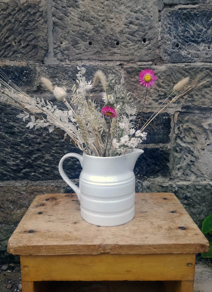 Lovely large rustic vintage white jug