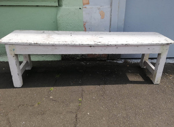 Beautiful antique teak 1920's original painted bench in white original paintwork