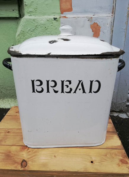 Gorgeous big vintage black and white enamel bread bin