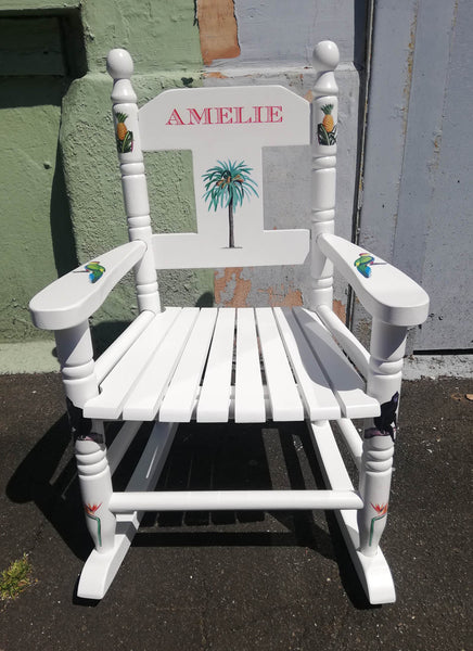 Shabby Chic Upcycled rush seat personalised children's rocking chair - Tropical theme - made to order