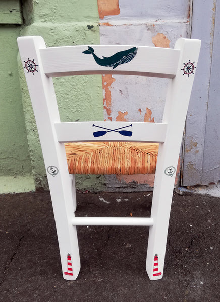 Upcycled rush seat personalised children's chair - Nautical Theme - made to order