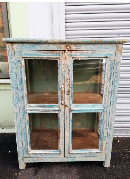 RESERVED Stunning Antique 1920's teak wood glass fronted cabinet with original chippy blue and green paint finish