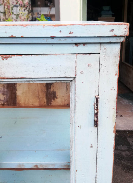 Stunning Antique 1920's teak wood glass fronted cabinet with original chippy blue paint finish