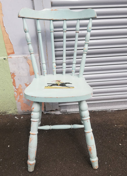 Decoupaged vintage chair with circus girl