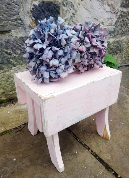 Super cute little vintage step stool in original chippy turquoise and pink paint