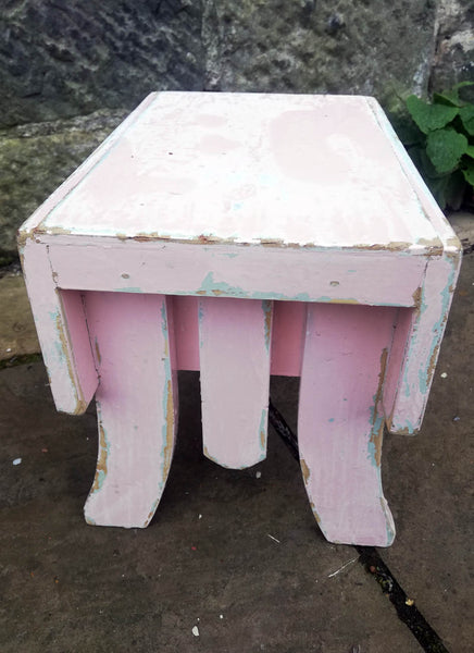 Reserved cute little vintage step stool in original chippy turquoise and pink paint