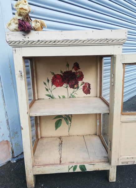 Antique teak wood painted wall unit with floral rose design