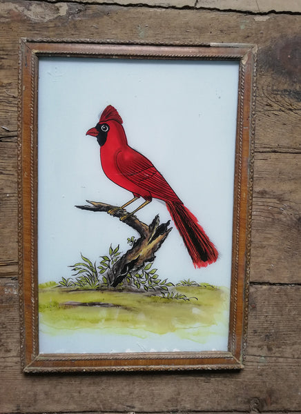 Large Vintage glass painting of a Red Cardinal