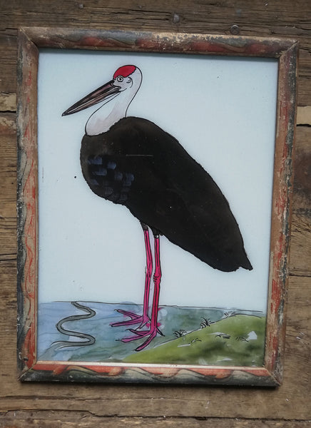Large Vintage glass painting of a Pelican