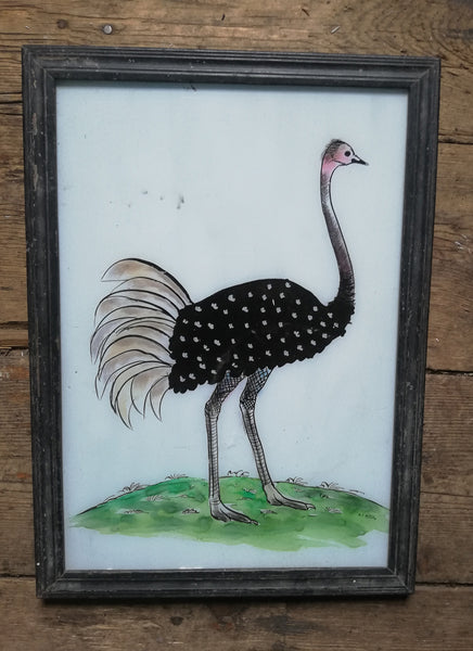 Large Vintage glass painting of an ostrich