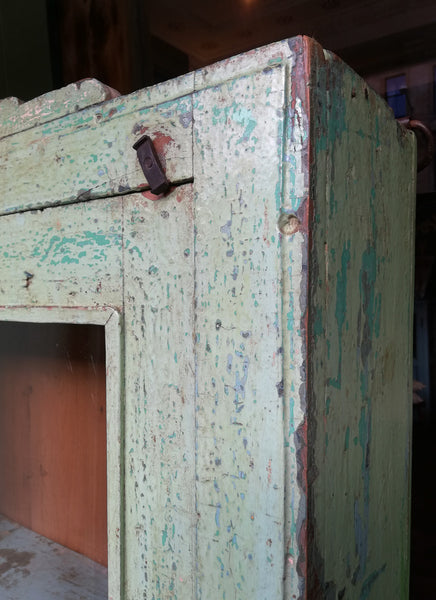 Beautiful Indian antique teak painted glass fronted wall cabinet with original green chippy paint
