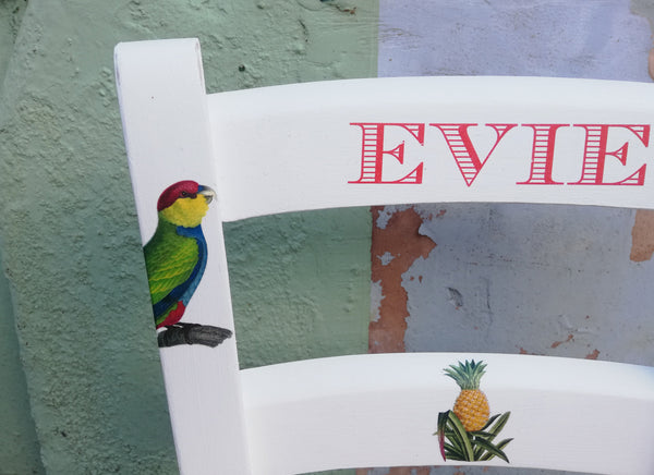 Shabby Chic Upcycled rush seat personalised children's chair - Tropical theme - made to order