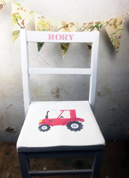 Children's personalised upcycled shabby chic wooden nursery school chair with Racing Car /Tractor theme and your child's name