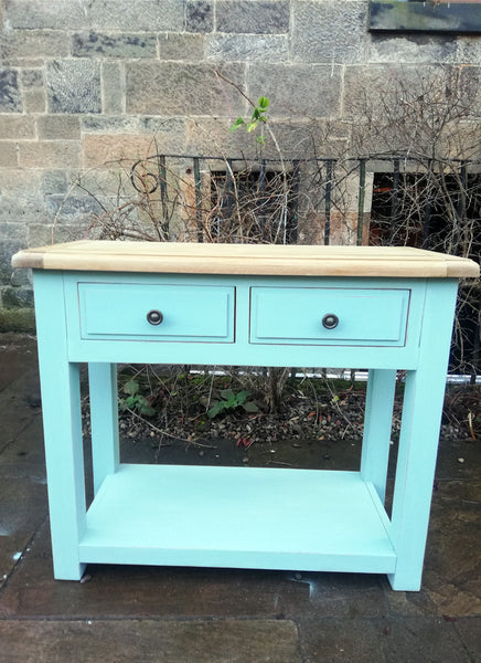 Console Table / sideboard painted in miss mustard seed milk paint eulalies sky