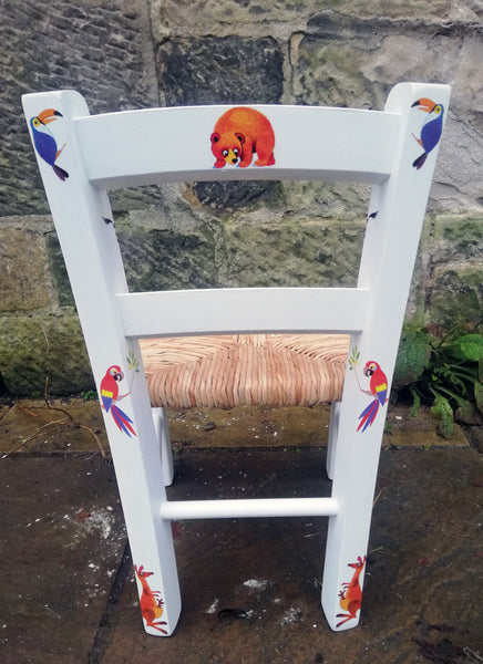 Upcycled rush seat personalised children's chair - Vintage Zoo Theme - made to order
