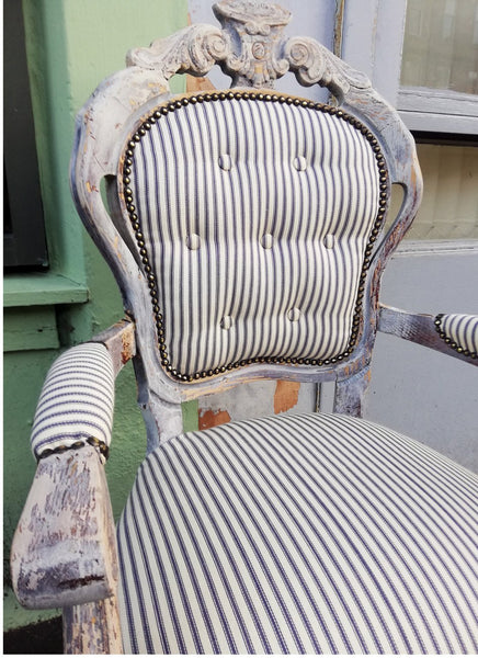 Vintage Ticking fabric upholstered bedroom chair