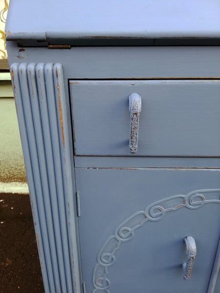 Reserved vintage writing bureau painted in Steel Blue