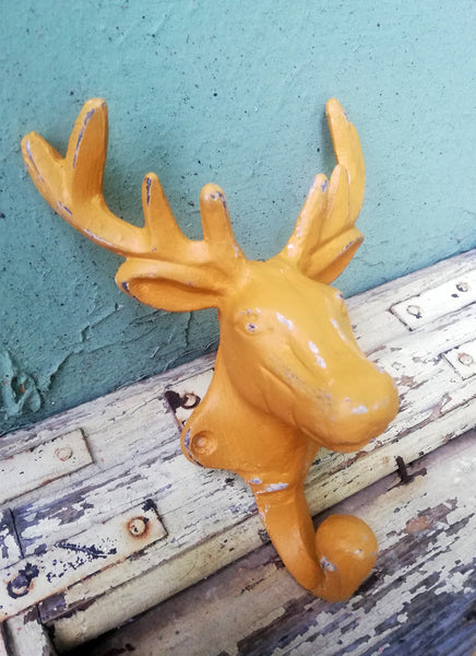 Large metal stag head wall hooks