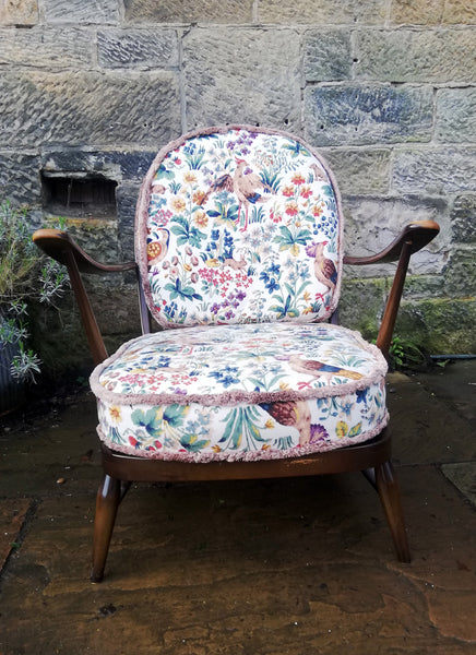 Vintage Ercol fireside arm chair with original fabric