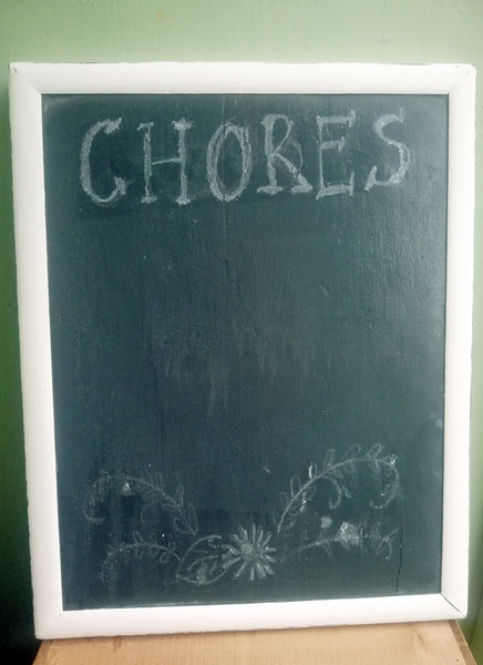 Vintage dark blue and white painted chalk board