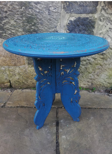 Cute carved side table painted in miss mustard seed milk paint