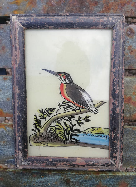 Vintage glass painting of a kingfisher in a beautiful original frame