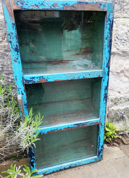 Beautiful antique teak painted glass fronted wall cabinet with original blue chippy paint