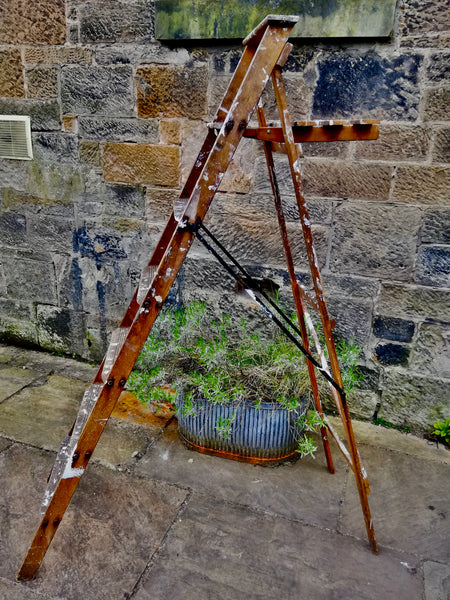 Large Vintage wooden paint splattered step ladder