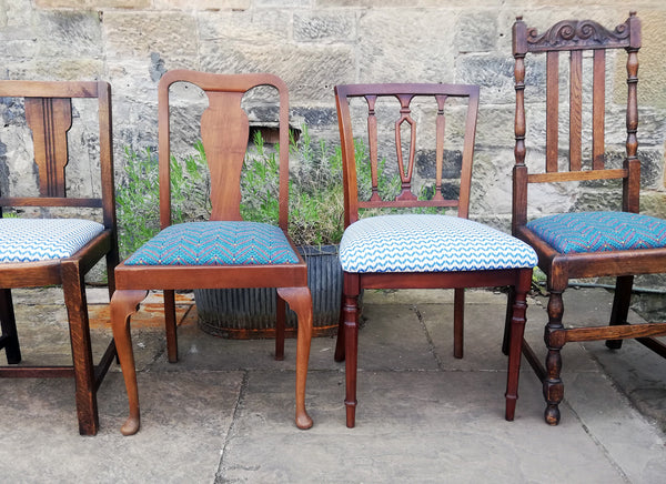 Painted and re upholstered matching or mismatched vintage dining chairs - painted to order