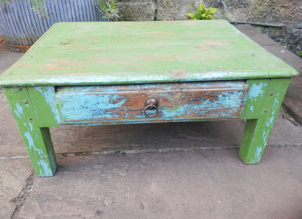 Beautiful antique teak 1920's original painted coffee table