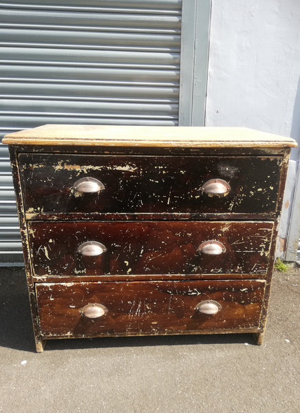 Vintage industrial primitive wooden chest of drawers