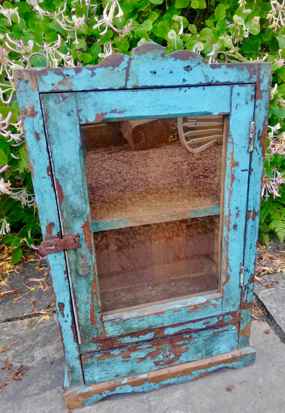 Beautiful antique teak painted glass fronted Indian wall cabinet with original blue chippy paint