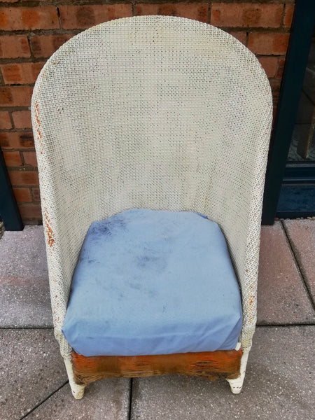 Vintage High backed Lloyd Loom nursing chair available for painting and reupholstery