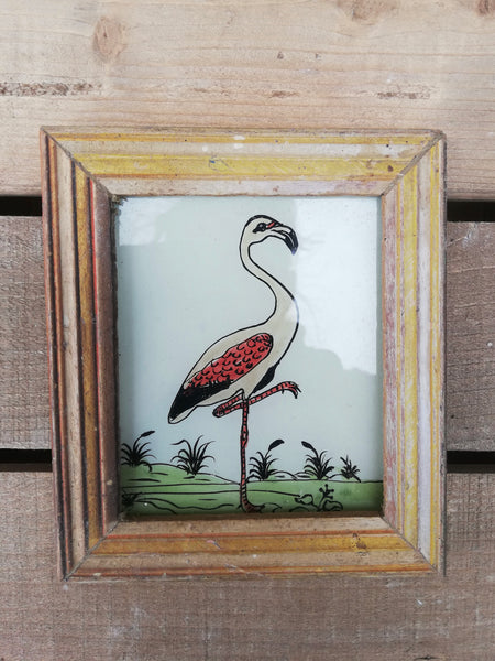 Vintage glass painting of a flamingo in a beautiful original frame