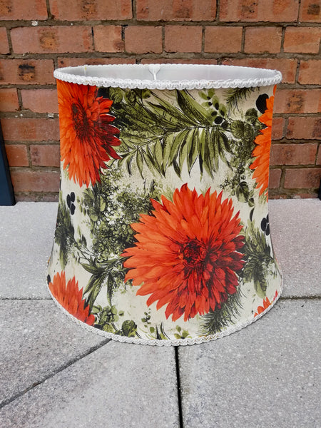 Amazing huge barkcloth 50's lamp shade