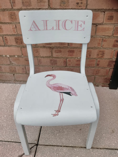 Commission for Silvia Vintage Personalised children's school chair with Flamingo design