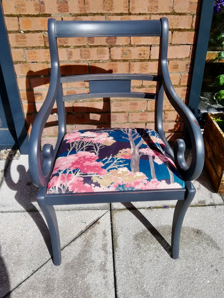 Vintage carver chair  painted in Steel Grey and upholstered in beautiful velvet