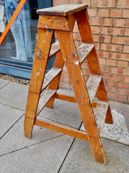 Vintage wooden A frame paint splattered step ladder