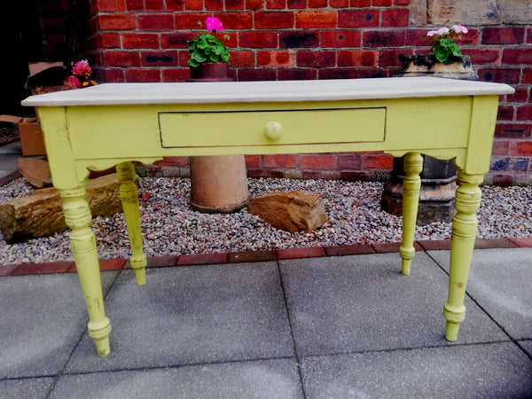 Vintage console/hall table/ kids desk painted in vibrant yellow