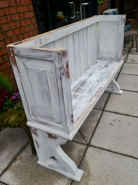 Vintage High Back Bench available for painting.... price includes painting