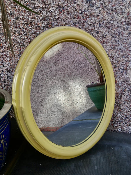 Vintage oval mirror painted in Farrow and Ball