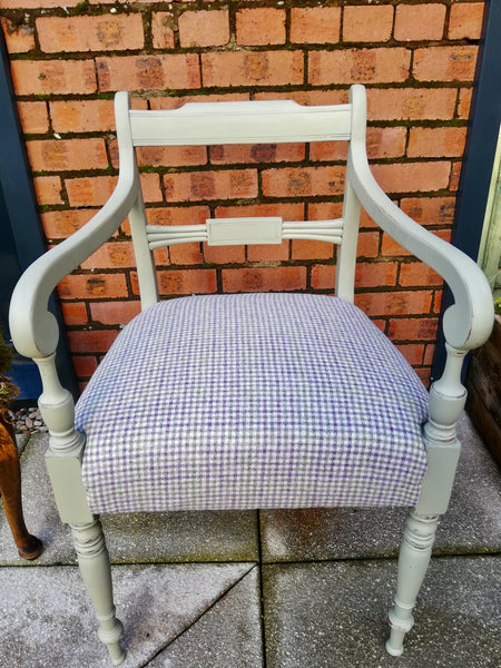 Vintage carver chair painted in Lichen and upholstered in beautiful moon fabric